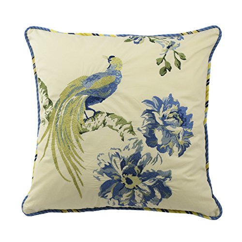 """WAVERLY Floral Engagement Decorative Pillow, 18"""" x 18"""", Porcelain"""