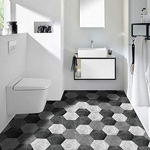 MJNDHB 10PCS Hexagonal Nicht Beleg-Fußboden Aufkleber Wasserdicht Badezimmer Fussboden Aufkleber Self Adhesive Fliesen Küche Wohnzimmer Dekor-Tapete