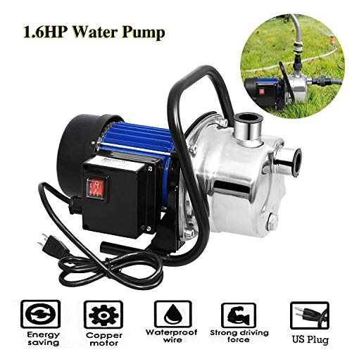 Voluker 1.6HP Stainless Steel Lawn Sprinkling Pump Booster Pump Shallow Well Pump For Garden Water Transport (1.6HP Booster Pump)