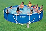 Intex metalf RAME Piscina sobre suelo con marco de metal y Bomba de filtro Diámetro 366 x 76 cm Pool swimming pool atril Piscina