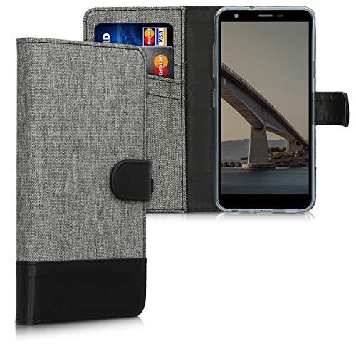 kwmobile Wallet Hülle kompatibel mit LG K30 (2019) - Hülle Kunstleder mit Kartenfächern Stand in Grau Schwarz