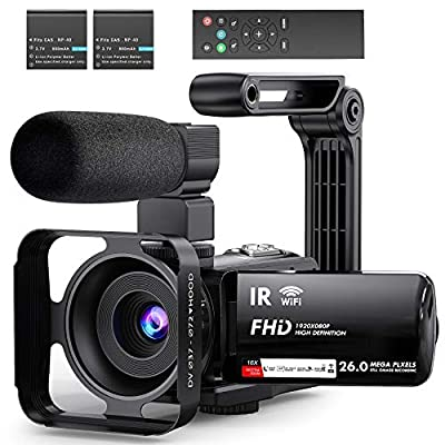 Video Camera Camcorder WiFi YouTube Vlogging Camera FHD 1080P 30FPS 26MP 16X Digital Zoom IR Night Vision 3'' IPS Touch Panel Camera Recorder with Microphone, Handheld Stabilizer, 2.4G Remote Control from Anteam