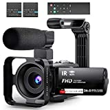 Video Camera Camcorder WiFi YouTube Vlogging Camera FHD 1080P 30FPS 26MP 16X Digital Zoom IR Night Vision 3'' IPS Touch Panel Camera Recorder with Microphone, Handheld Stabilizer, 2.4G Remote Control