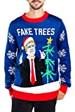 Men's Fake News President Christmas Sweater - Blue Donald Trump Fake Trees Ugly Christmas Sweater: Large