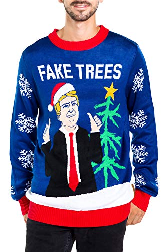 Men's Fake News President Christmas Sweater - Blue Donald Trump Fake Trees Ugly Christmas Sweater: X-Large