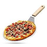 lijunjp Buccia per Pizza in Acciaio Inossidabile da 10', Pagaia per Pizza Rotonda in Metallo, Spatola per Pizza Grande con Manico in Legno, per Grigliare, Cucinare, cuocere Torte, Biscotti