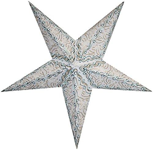 BRUBAKER papieren ster vouwt kerstster batik wit met steruitsnijdingen en borduurwerk in goud/mintgroen 60 cm Ø
