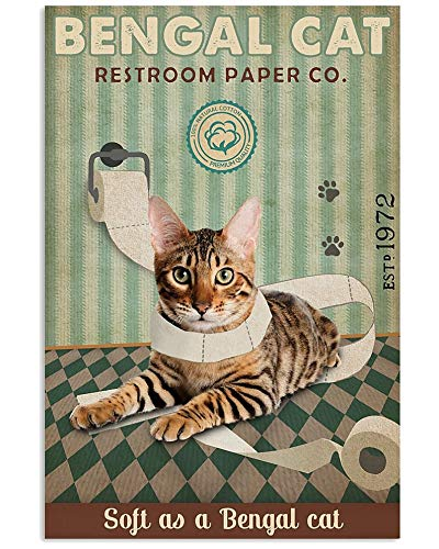 Green Restroom Paper Company Bengal Cat Wall Art Poster Anniversary Birthday Christmas Housewarming Gift Home Retro Wall Decor Metal Sign 8X12 inch