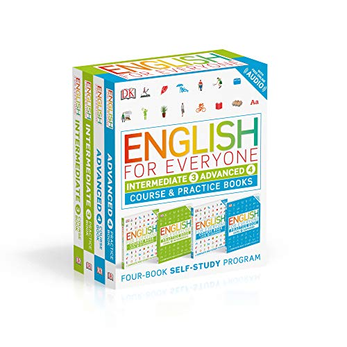 English for Everyone: Intermediate and Advanced Box Set: Course and Practice Books Four-Book Self-St