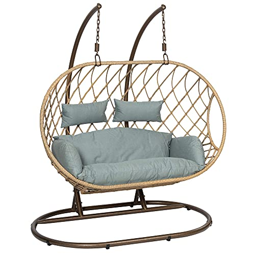 GardenCo Milan Double Hanging Egg Chair - Outdoor and Indoor Rattan Weave Swing Hammock - Hanging Stand (Natural with...