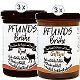 PFUNDS Brühe (6x400 ml) 3x Rinderbrühe, 3x Geflügelbrühe, Knochenbrühen 24 Stunden geköchelt,...