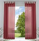 2er-Pack Gardinen Transparent Vorhang Set Wohnzimmer Voile Schlaufenschal mit Bleibandabschluß HxB 225x140 cmBordeaux, 61000CN