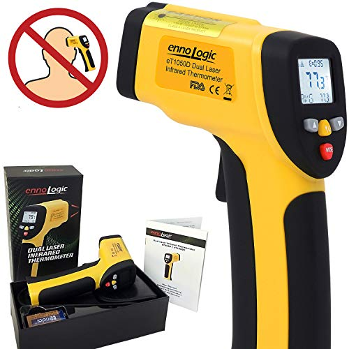 ennoLogic Temperature Gun (NOT for Body Temperature) - Dual Laser Non-Contact Infrared Thermometer -58°F to 1202°F - NIST Option Available - Accurate Digital Surface IR Thermometer eT650D