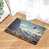 Viaggio in mongolfiera ad aria calda della nuvola bianca del cielo blu della montagna della neve dell'altopiano Tappeto da bagno antiscivolo ingresso per bambini tappetino per porta d'ingresso60x40cm