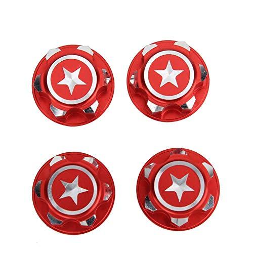 T best Sechskant Radmutter, 4 Stücke Aluminiumlegierung 17mm Sechskant Radmuttern Set Fit für X-MAXX Summit Traxxas RC Auto(rot)