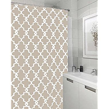 Vandarllin Geometric Patterned Waterproof 100% Polyester Fabric Shower Curtain for Bathroom 72  x 84  Extra Long- Beige