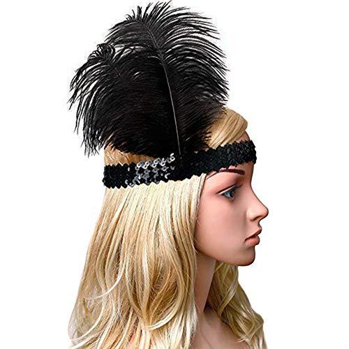 Babeyond® 1920s Stil Stirnband mit schwarzer und weißer Feder Inspiriert von Der Große Gatsby Accessoires für Damen Freie Größe (enthält zwei Stirnbänder) - 4