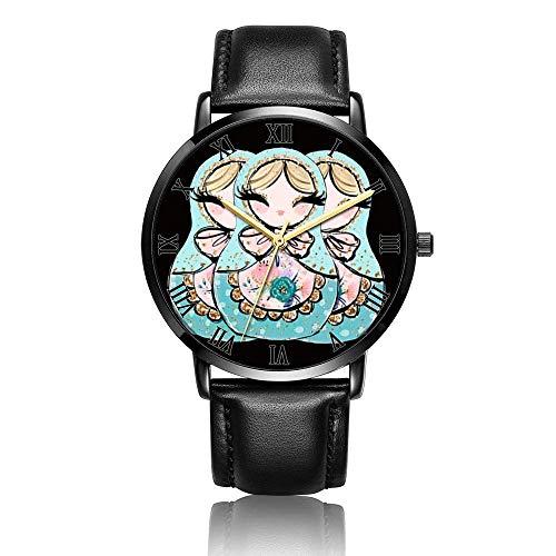 Anolog Armbanduhr für Business, Quarz, aus Kunstleder, Armbanduhr mit Matroschka