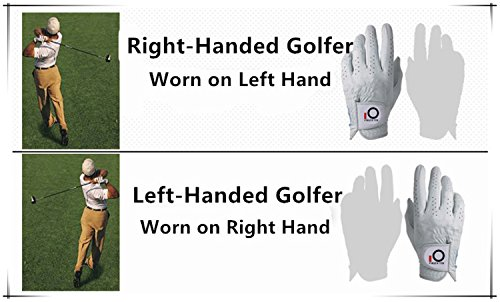 FINGER TEN Mens Golf Glove Rain Grip Value 3 Pack, Black White Left Hand Fit Right Handed Golfer, All Weather Durable Grip Size Small Medium Large XL