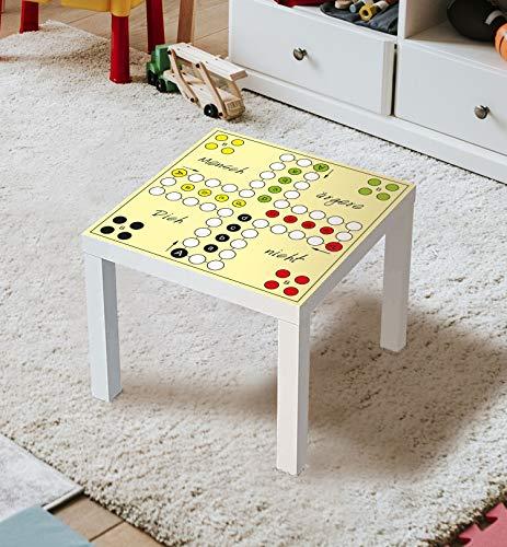 MyMaxxi | Aufklebefolie Möbelfolie Mensch ärgere dich nicht Spielfolie für IKEA Lacktisch 78 x 78cm Stadtleben Aufkleber Sticker Kinderzimmer Spieltisch Brettspiele selbstklebend
