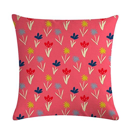 Kaned Funda de cojín con Lunares de Flores, Funda de Almohada de Lino con Cremallera Invisible para la decoración del Coche del café en casa,Rojo