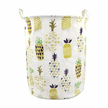 Orino Pineapple Storage Baskets 19 x 16.5 Inches Laundry Hamper (Yellow)