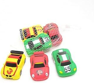 MyLifeUNIT Rubber Race Car 3 Piece Squeeze Bath Tub Toys Set