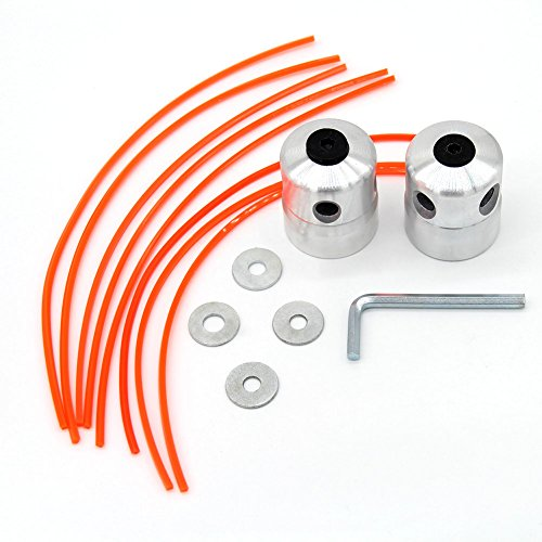 SWNKDG 2ST Aluminium Fadenkopf Rasentrimmer Kopf Doppelfadenkopf Fadenspule Nylonfaden für Motorsense Rasentrimmer Freischneider