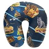 Hdadwy Galaxy Space Cat Sit Hamburg Almohada de Viaje para el Cuello Almohada de Espuma viscoelástica Compresible, Regalo ergonómico Lavable para Viajes en avión