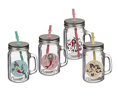 12 Trinkgläser Meerjungfrau mit Henkel Einmachglas Marmeladenglas Sommer Picknick