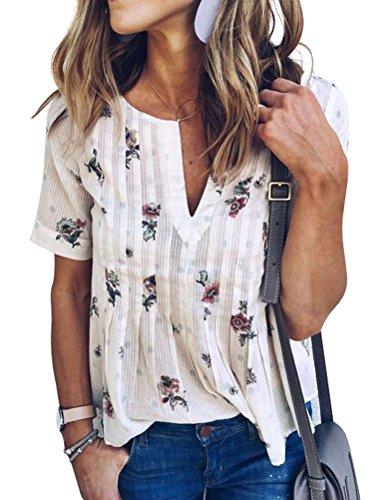 WLLW Women Bohemian Short Sleeve V Neck Floral Print T Shirt Babydoll Shirt Blouse Tunic Top