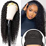 Curly Human Hair Wigs 10A Headband Wigs For Black Women Human Hair Wigs Glueless None Lace Front Wig 150% Density Brazilian Water Wave Half Wig (24 inch, Natural Color)