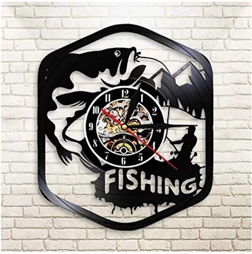KDBWYC Disco de Vinilo Vintage Pescador Pesca DIY Vinilo Reloj de Pared Reloj de Pared Sala de Estar Hecha a Mano decoración del hogar 12 Pulgadas (sin luz)