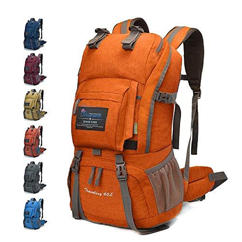 MOUNTAINTOP 40 litros Mochila de Senderismo, Impermeable Mochila Trekking al Aire Libre Mochilas de Montaña Viajes Acampadas con Cubierta de Lluvia (Naranja)