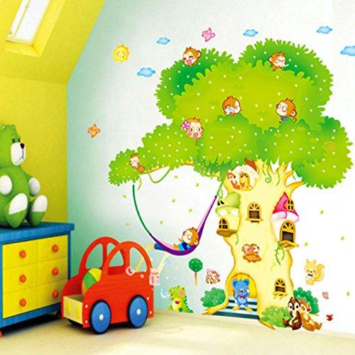 HALLOBO® XXXL Wandtattoo Wald Tier Zoo Baum AFFE Haus Waldtier Wandaufkleber Eichhörnchen Affen Wandsticker Kinderzimmer Kinder Baby Babyzimmer
