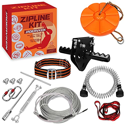 Jadervken Zip line Kits for Backyard 80FT - Zip Lines for Kid and Adult Up to 330 lb with Ziplines Spring Brake and Zip line Trolley with Handle and Thickened Seat