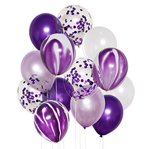 50 Pcs 12 Inches Purple and White Balloons, Purple Confetti Balloons, Purple and Lavender Balloons, Helium Balloons for Wedding Birthday Party Decorations Balloon Garland Arch Purple Theme Graduation