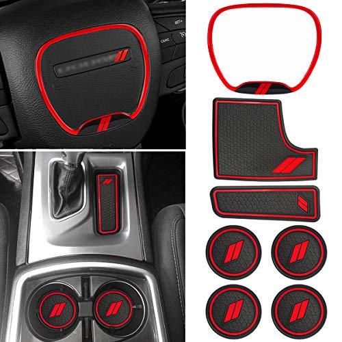 Auovo Alfombrillas y adornos antipolvo para Dodge Charger accesorios 2015-2020 interior, 1 unidad de tapacubos para volante, 6 alfombrillas de coche, posavasos de inserción, consola central (rojo)