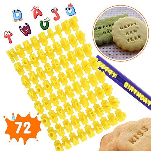 XCOZU Keksstempel, Set mit 72 Buchstaben und Zahlen Buchstaben Ausstecher für Fondant, Fondant Buchstaben Stempel für Kuchen Keks Marzipan Deko Stempel Embosser Form