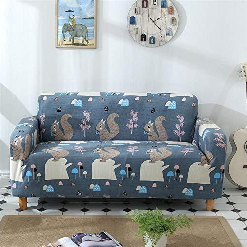 Fundas de sofá elásticas 3 plazas(Ardilla) Estampadas Funda de sofá Universal Ajustables Fibra superfinaToalla de sofá Antideslizante