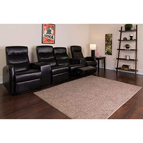 Flash Furniture Anetos Series 4-Seat Reclining Black LeatherSoft Theater Seating Unit with Cup Holders