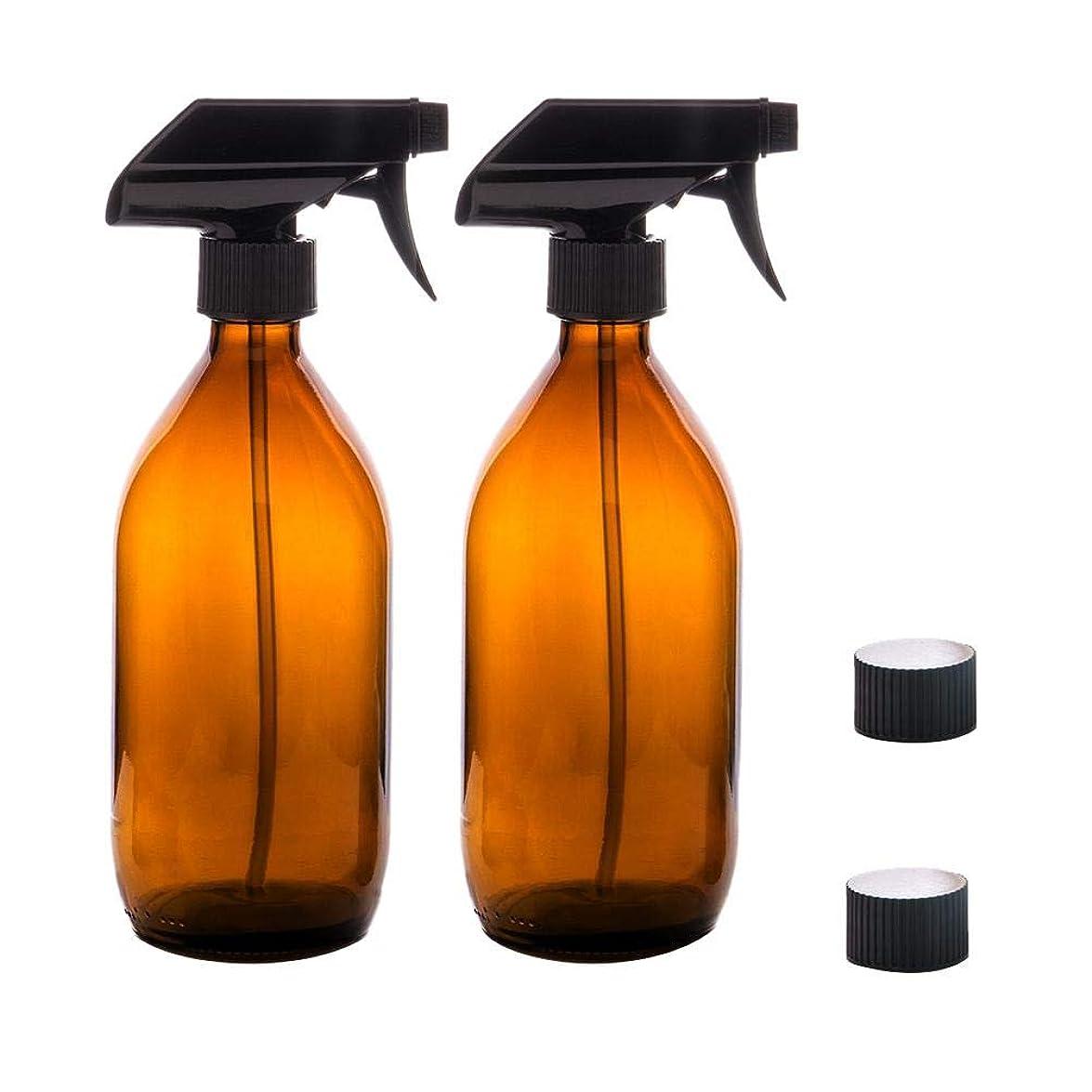 広範囲に一元化する一元化するRagem スプレーボトル 霧吹き スプレー 500ml 遮光 極細のミスト 保湿スプレー 容器 植物水やり BPAフリー 2点セット ブラウン