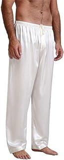 Mugoebu Loose pyjama bottoms for men with high waist, satin silk pyjama bottoms, elastic belt, drawstring, pyjama bottoms,...