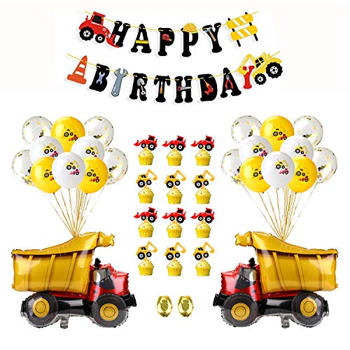 EKKONG Cars Geburtstagsdeko, Happy Birthday Ballons, Happy Birthday Deko, Geburtstag Dekoration Set, Luftballons Latexballons Party Dekoration für Jungen, Mädchen, Babyshower (37 Stück)