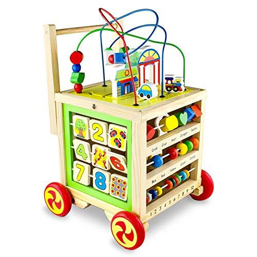 Lauflernhilfe Holz Spielzeug 7 in 1, Hochwertiger Babyspielzeug Lernspielzeug Ab 1 2 3 Jahren Mädchen Junge Geschenke Für Kinder Sicher Und Ungiftig,1