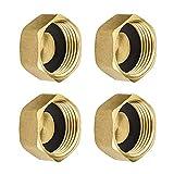 4 tuercas hexagonales de latón de 3/4 pulgadas, con arandelas de goma, rosca de tubo, conectores hembra de extremo de parada, sin fugas para válvula de lavado y válvula de radiador
