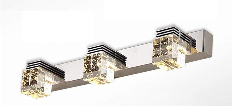 LED-Spiegel Scheinwerfer Doppel- Drei crystal Edelstahl Badezimmer Badezimmer leuchten Lampe Schaltschrankleuchten aufleuchtet (Farbe  Warmwei - Drei-46cm 9 w)