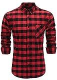 Emiqude Men's Flannel 100% Cotton Slim Fit Long Sleeve Button-Down Plaid Dress Shirt Small Black Red