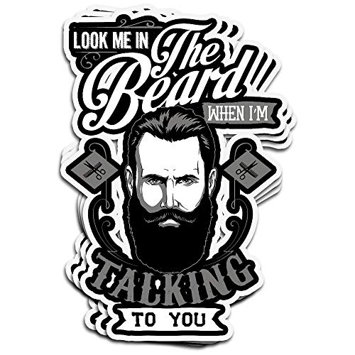 Lucky Star 3 PCs Stickers Look Me in The Beard When I M Talking to You Funny Man Mane Im Goatee Sideburns for Men 4 × 3 Inch Die-Cut Wall Decals for Laptop Window