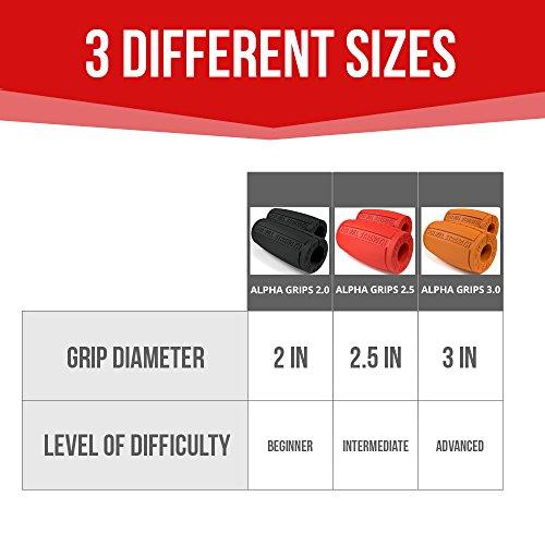 Alpha Grips 2.0 Inch Durchmesser – 1 Paar – Extrem Arm Blaster – Ergonomische Dicke Griffe – Beste Fat Bar Training Griffe (Grau) - 5